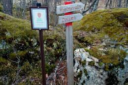 Her starta turen i Sørdalen naturreservat til Hjelmevasshøgda. -  Foto: Svenn-Petter Kjerpeset.