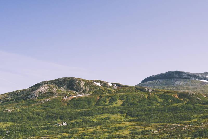 Nedalshytta ligger lunt og idyllisk til i bjørkeskog