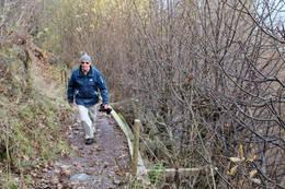 Forfatteren i stigningen nord for Valstad - Foto: Ukjent