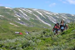 Turlederkurs for ungdom på vei fra Åsedalshytten. - Foto: Ukjent