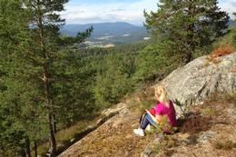 Fra Tjennsåsen er det utsikt mot Sigdalsbygda og Grågalten 735 m.o.h.. -  Foto: Hilde Roland