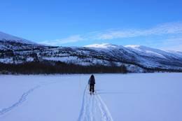 Turen starter me å krysse over Ångardsvatnet. -  Foto: Oddveig Torve