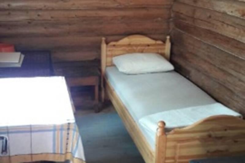 Et lite rom brukes som hunderom, der står det et hundebur i tillegg til seng til hundeeieren.