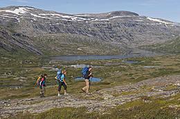 Langs stien mot Kinsarvik, Grøndalsvatnet nedenfor.  - Foto: Terje Rakke