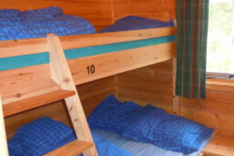Soverom 3 med 6 sengeplasser: To sengeplasser i underkøya og en i overkøya. Myggnetting på vindu.