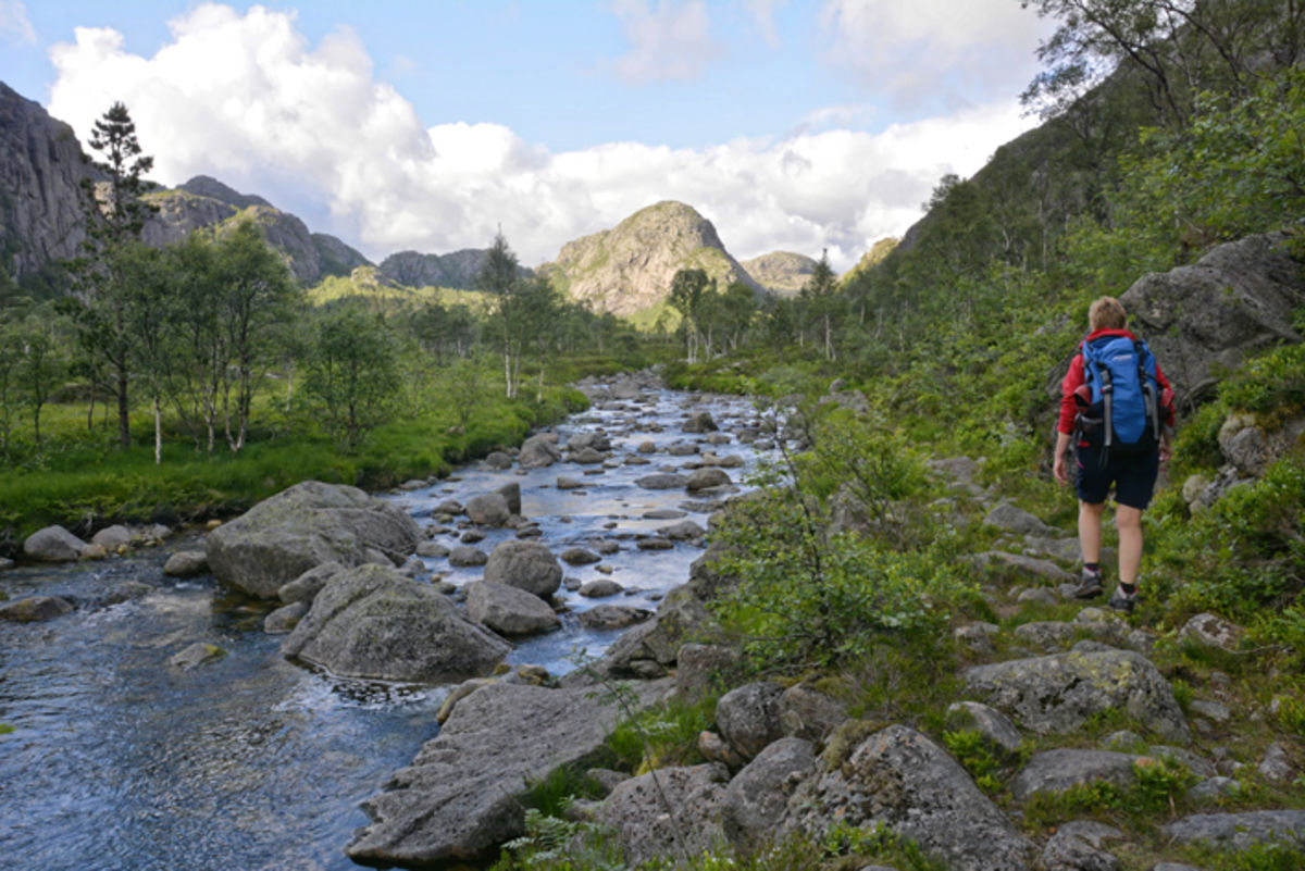 Stien i Tyrejuvet går langs et idyllisk lite vassdrag