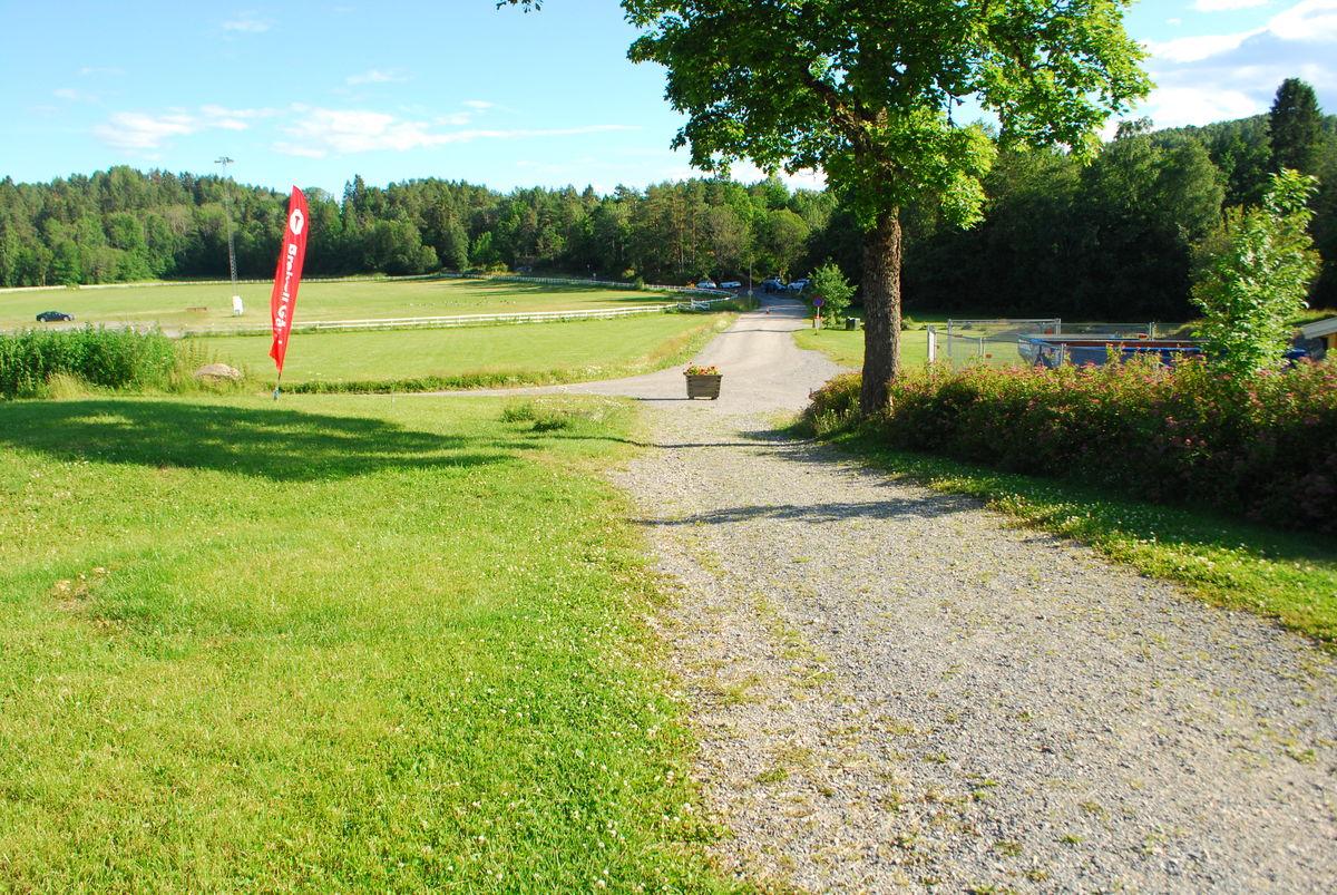 Veien fra gården, med HC-parkeringsplass bakerst i bildet (ca. 200 meter).