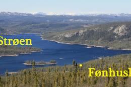 Oversiktsbilde over Strøen i Vassfaret med plassering av Fønhuskoia. Foto: Ole-Martin Høgfoss - Foto: Ole-Martin Høgfoss