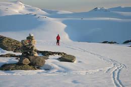 Pinsetur til Skavlabu i Modalen - her kveldstur på platået rundt hytten. - Foto: Torill Refsdal Aase