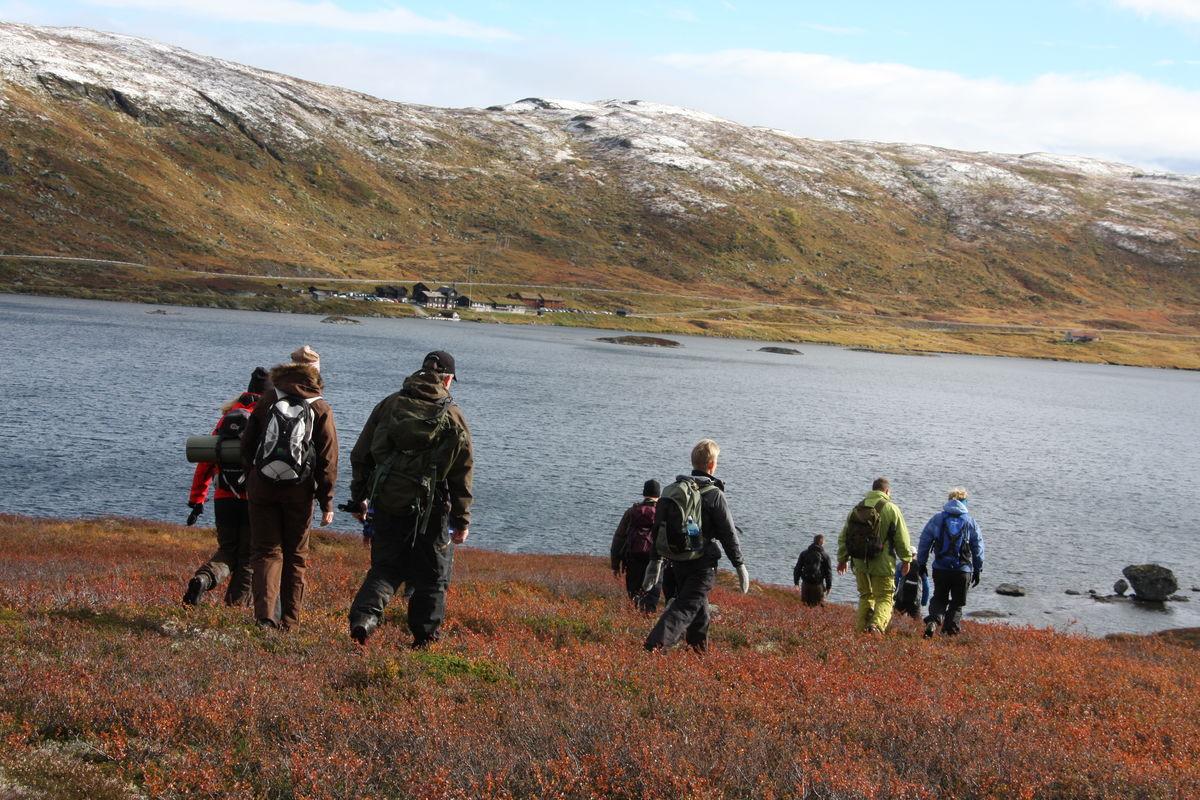 På vei hjem igjen - Haukeliseter fjellstue i bakgrunnen