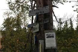 Skiltstolpen på Dynamittmyra viser vei til turmålene i nærheten. - Foto: Hilde Roland