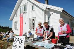 Blide damer serverer kaffe og vafler fra kafeen på Gramstad. Fra venstre: Kjellaug Rostøl, Torill Herigstad og Anne Karin Svendsen. - Foto: Kjell Helle-Olsen