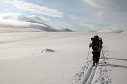 Etter vind og snøbyger åpnet himmelen seg plutselig over tre lofotinger på tur inn til Reinheim og Snøhetta på Dovrefjell.  - Foto: Jan Arne Stokmo