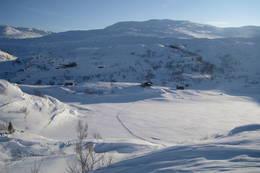 Torvedalshytta i slutten av januar, med 20 cm fersk pudder  - Foto: Tore Solvang