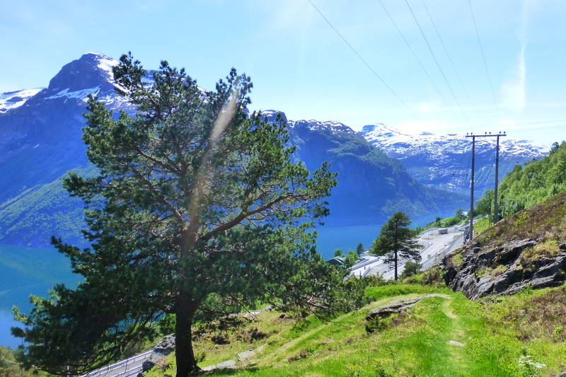 Når ein kjem ned til Ljøen ser ein det nye utsiktspunket som Statens Vegvesen har bygd.