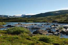 Landskapet sett fra tunet ved hytten. - Foto: Torill Refsdal Aase
