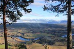 Fra Hovdekollen kan man se bl.a. Snarum, Snarumselva, Holleia og Tyrifjorden.  -  Foto: Hilde Roland