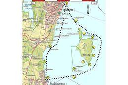 Kart over turen med nummeranvisning til teksten - Foto: Ukjent