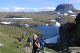 På vei ned mot Torehytten. Foto: Astrid Haukenes. - Foto: Astrid Haukenes