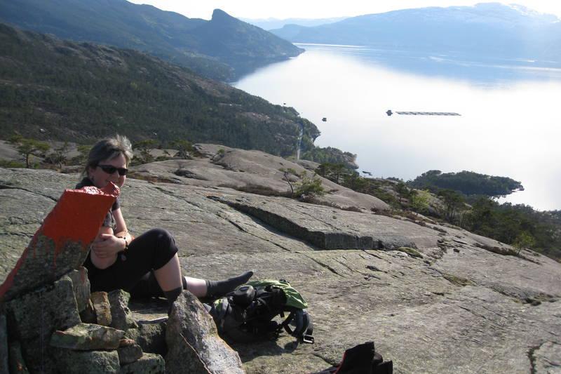 Blankskura berg, utsikt ut fjorden