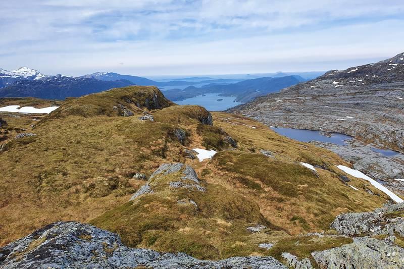 Utsikt vestover frå toppen av Grøneheia 669 moh