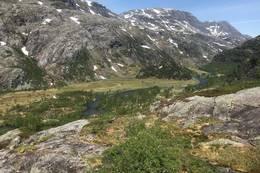 Stien langs oppover elven fra Kvanndalen mot Haukeliseter fjellstue går innover til høgre i bilde - Foto: Per Henriksen