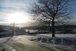 Utsikt fra Heggen kirke og sørover mot Bergsjø -  Foto: Hilde Roland