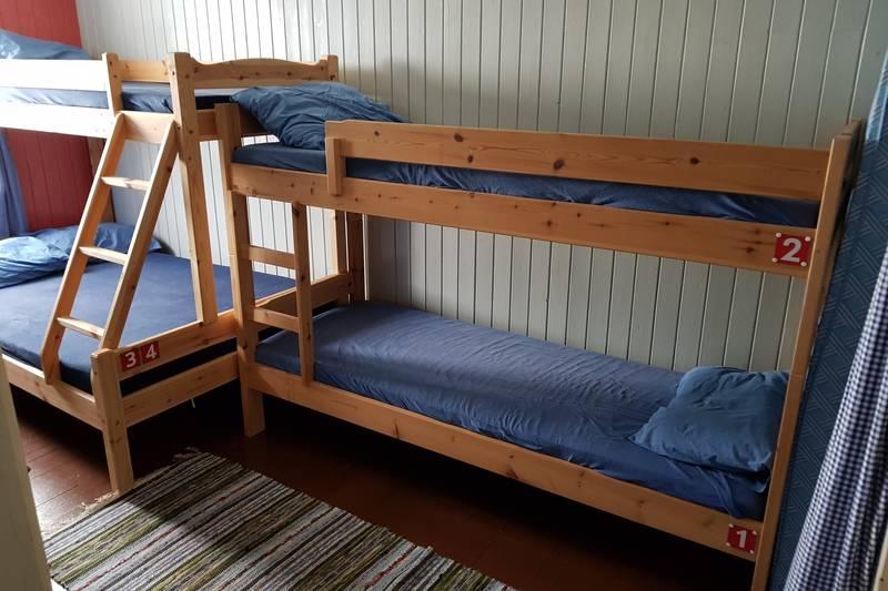 Du kan nå booke deg inn på hytta. Her ser du hvordan sengene er merka.