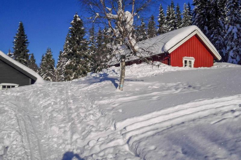 Foreningshytta (rød) og Stallen (bruk) i vinterdrakt.