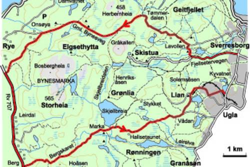 kart over bymarka i trondheim Gjennom Bymarka på gamle Bynesveier   35 km   Tur   UT.no kart over bymarka i trondheim