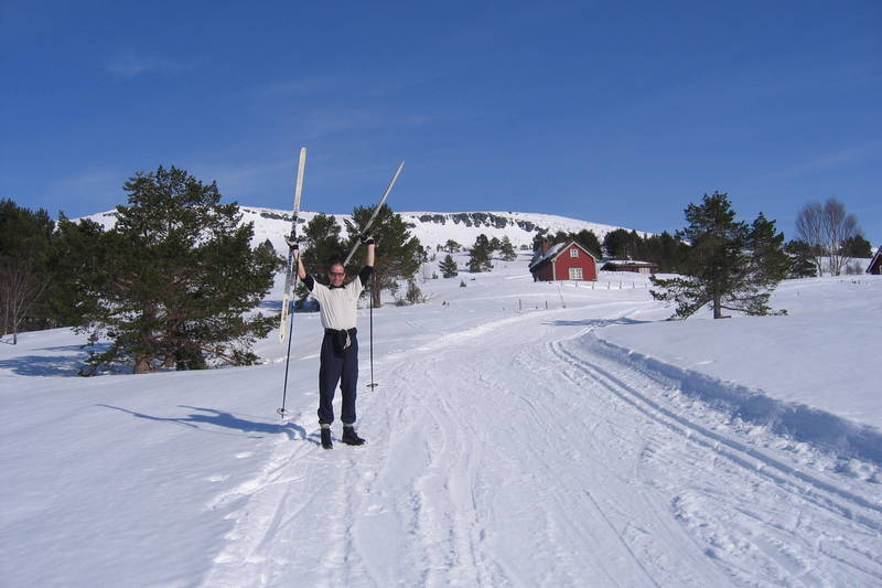 Kjell med glatte ski på Engesesetstøylen