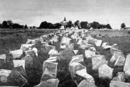 Steiner fra Adalsborgens østvegg ble brukt som tanksperringer på Kirkebakken i Borre av tyskerne under krigen - Foto: Ukjent