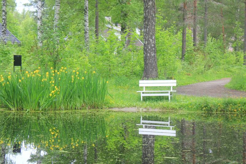Vil du ta en liten pause er det muligheter her ved dammen.