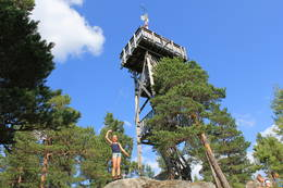 Utsiktstårnet i Seteråsen har 35 trinn og 3 platåer. Herfra kan du se langt.  -  Foto: Hilde Roland