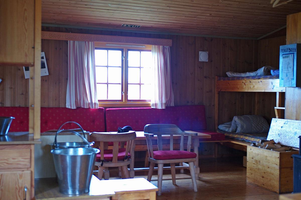 Her ser vi stuedelen på hytta