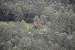 Flagget til topps på Vikestølen - Foto: Roald Årvik