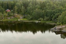 Utsikt mot Skytterhuset ved nordenden av Borrevannet. Fra pkt 5. -  Foto: Ukjent