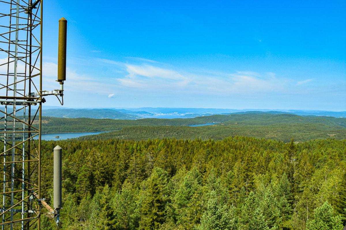 Utsikt mot nordvest fra brannvakttårnet på Stikkvannskollen på Hurumlandet.