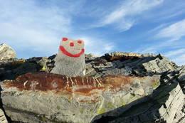Dette hyggelege smilet møter alle som nærmer seg toppen av Blånipa. -  Foto: Arnfrid Bergheim