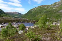 Kvitlen-dalen sett fra tunet foran selvbetjeningshytta. - Foto: Leif Sivertsen