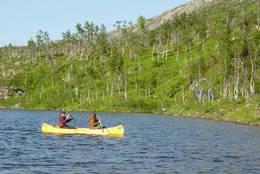 Stabbursfjellvatnet har perfekt størrelse for den som vil prøve kanopadling i trygt farvann - Foto: Berit Irgens