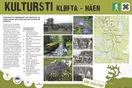 Kulturstien Kløfta - Håen, Tydal. Du finner informasjonstavler langs hele stien. -  Foto: Fjelldriv