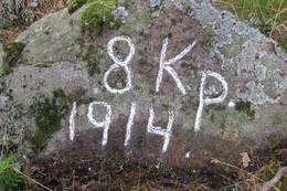Stein fra 1. verdenskrig med inskripsjon - Foto: Floke Bredland