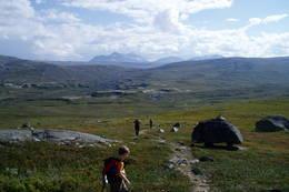 På veien fra Øvre Tollådal til Bjellåvasstua passeres en spennende stein, og i bakgrunnen ses Ølfjellet, det høyeste fjellet i området. - Foto: Gunn Hellesvik