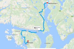 Kjøretur fra Cirkle K, Flekkefjord til Veisdal, Hidra - Foto: Maja Elise W. Kongevold