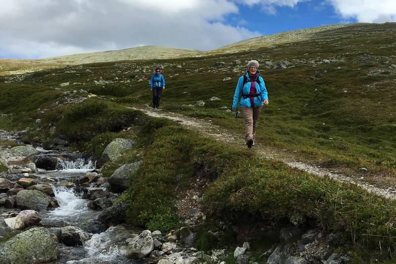I flere kilometer går vi langs Bjørbekken. Stien er tørr og fin.