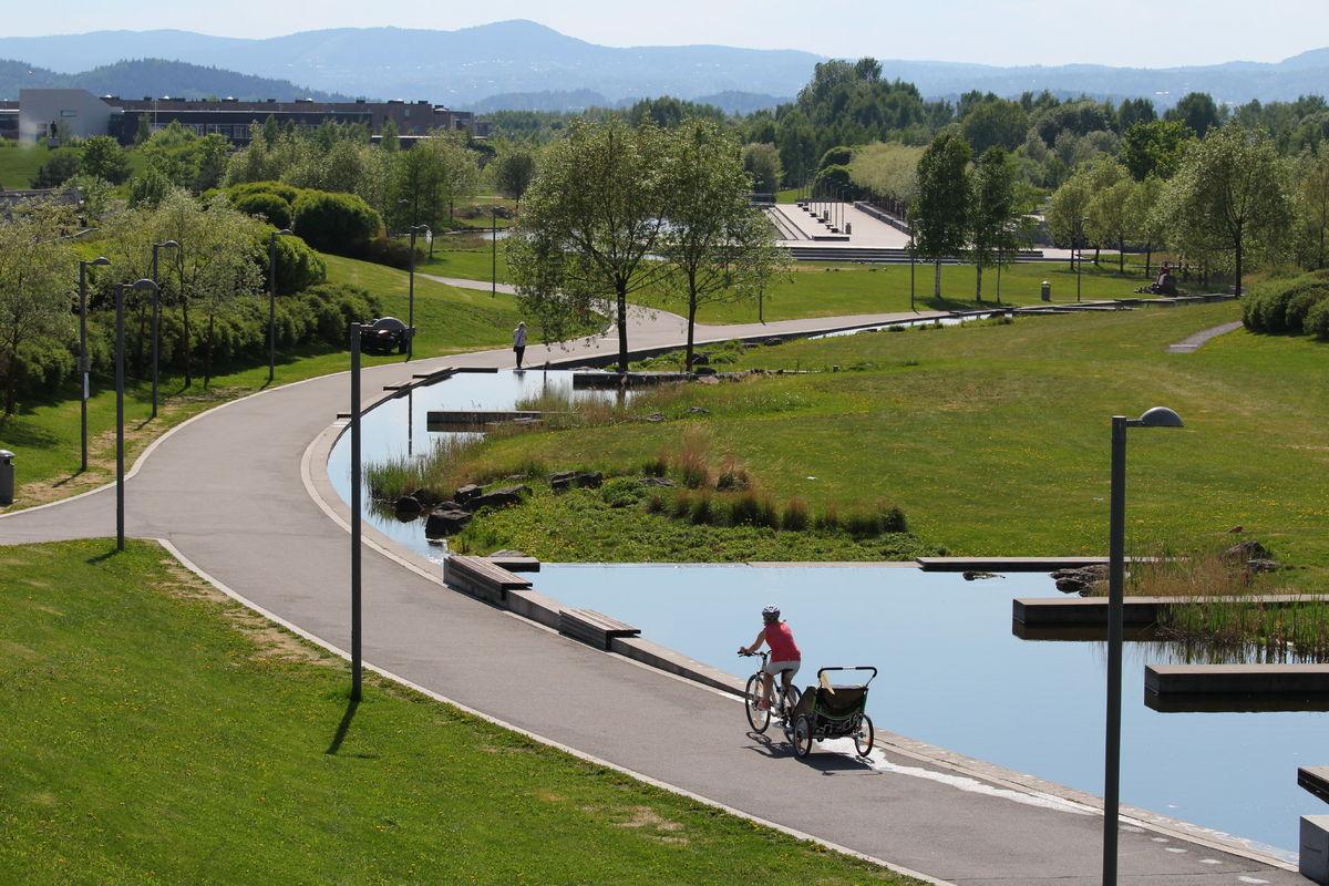 Strøkne sykkelforhold gjennon Nansenparken