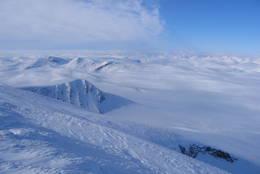 Utsikt mot vest fra Snøhetta - Foto: Sveinung Tubaas