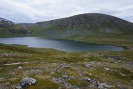 Stigningen oppover mot Kråkvasshalsen og du får god utsikt ned til Kråkvatnet. - Foto: Oddveig Torve