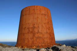 Sokkelen til gamlefyret på Kvalen - Foto: Tone Drabløs